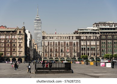 Mexico, Mexico City- 10 February 2017: view of the Zocalo square in the city with in perspective the Latin American Tower