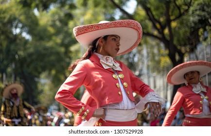 Mexico City, Mexico; 11/21/2017: Photo of female Charro at Alebrijes Parade, Mexico
