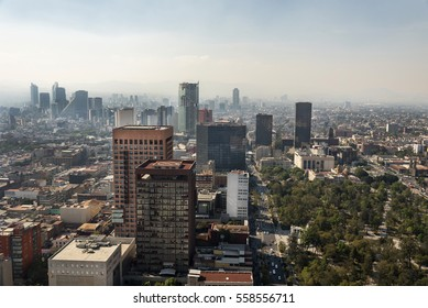 Mexico, Mexico City -16 January 2017: Mexico City panorama with skyscrapers Polanco in background, north view.