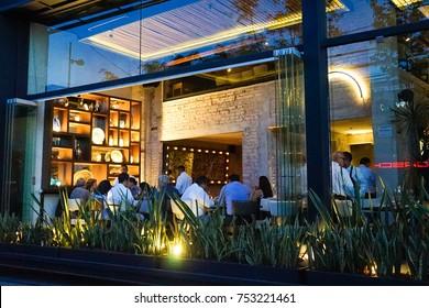 MEXICO CITY, MEXICO - 17 Aug 2017. Restaurant in the main urban upscale district of Polanco.