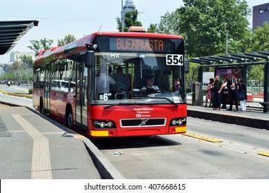 Mexico city - 18/04/2016 - Metro bus line 4 at Mexico city