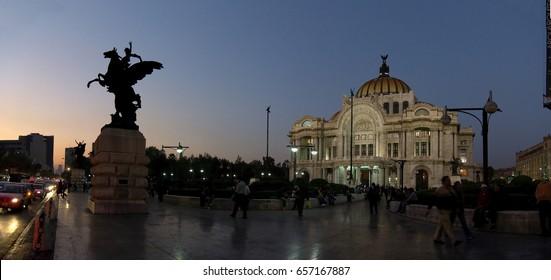 Mexico City, Mexico - 2011: Palacio de Bellas Artes at night. The Palacio de Bellas Artes (Palace of Fine Arts) is a prominent cultural center, museum and historical building in Mexico City.