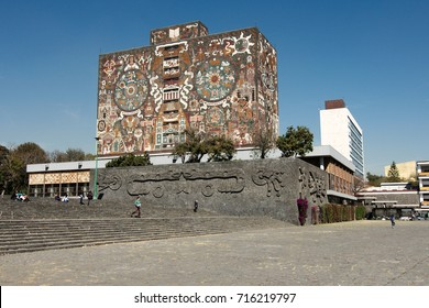 Mexico City, Mexico - 2013:  Central Library of the National Autonomous University of Mexico (UNAM), created by the Mexican artist Juan O'Gorman.