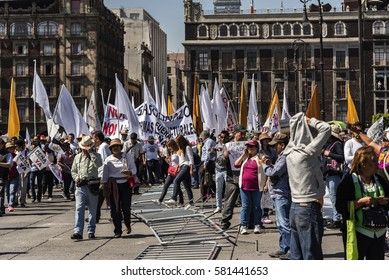 Mexico, Mexico City – 22 January 2017: political demonstration in the square of Mexico City against the government of Enrique Peña Nieto