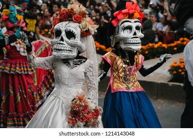 Mexico city / Mexico - 27 october 2018 - Parade in honour of The day of the Dead - desfile dia de los muertos