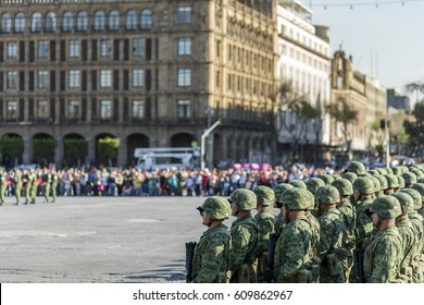 MEXICO CITY - 2nd MARCH 2017; Every afternoon, a Mexican Army platoon lowers the monumental flag in Constitution Square or Zócalo.