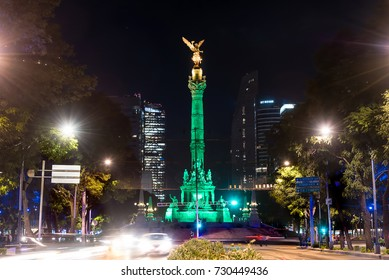 MEXICO CITY, MEXICO - 7 OCTOBER 2017: Independence Angel monument night shot at Paseo de la Reforma Avenue