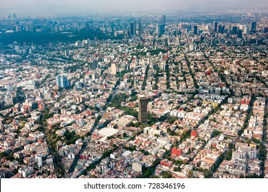 mexico city aerial view cityscape landscape from airplane