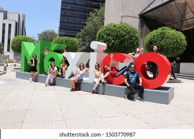 Mexico City, Mexico - Ago, 24, 2019: A beautiful view of the city and its buildings, local people and tourists.