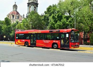 Mexico city - Apr. 18 2016 - Metrobus at Hidalgo Street