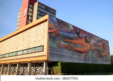 MEXICO CITY, MEXICO - APR, 25, 2015: The Rectoria building, Universidad Nacional Autonoma de Mexico, UNAM,  UNESCO World Heritage Site. Murals by Juan O'gorman. Mexico City, Mexico on APR, 25, 2015.