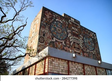 MEXICO CITY, MEXICO - APR, 25, 2015: Main library, Universidad Nacional Autonoma de Mexico, UNAM,  UNESCO World Heritage Site. Murals by Juan O'gorman. Mexico City, Mexico on APR, 25, 2015.