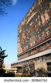 MEXICO CITY, MEXICO - APR, 25, 2015: Main library in the Universidad Nacional Autonoma de Mexico, UNAM,  UNESCO World Heritage Site. Murals by Juan O'gorman. Mexico City, Mexico on APR, 25, 2015.