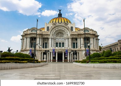 Mexico City - April 09 2020: The streets of CDMX, including Bellas Artes, are empty due to covid-19 (coronavirus) as CDMX closed 90% of shops and landmarks in order to help employees to stay home.