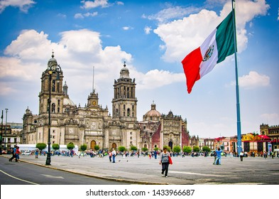 Mexico City, Mexico - April 12, 2012. Main square Zocalo with cathedral and big Mexican flag
