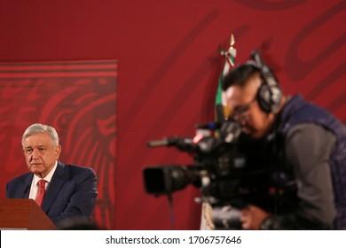 Mexico City, Mexico April 17 2020 Andrés Manuel López Obrador, mexican president attend his every morning press conference.