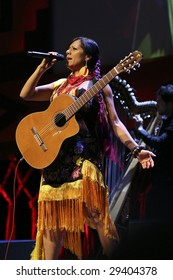 MEXICO CITY - APRIL 21 : Singer Lila Downs performs during the Chavela Vargas 90th Anniversary homage at the Teatro de La Ciudad de Mexico on April 21, 2009 in Mexico City, Mexico.