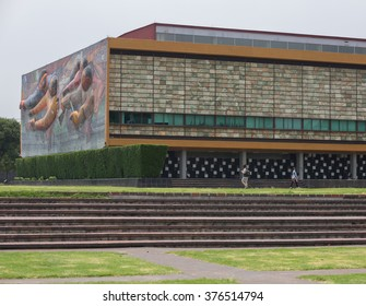 MEXICO CITY - APRIL 27, 2015: The Rectoria building in the Universidad Nacional Autonoma de Mexico, UNAM, UNESCO World Heritage Site. Murals by Juan O'gorman.