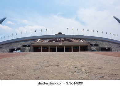 MEXICO CITY - APRIL 27, 2015: University Olympic Stadium (Estadio Olimpico Universitario, 1952) is a multi-purpose stadium located in Ciudad Universitaria, Mexico City.