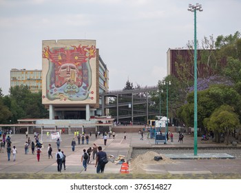 MEXICO CITY - APRIL 27, 2015: Building in the Universidad Nacional Autonoma de Mexico, UNAM, UNESCO World Heritage Site. Murals by Juan O'gorman. Mexico City, Mexico on APR, 27, 2015.