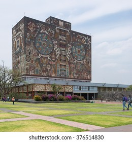MEXICO CITY - APRIL 27, 2015: Main library in the Universidad Nacional Autonoma de Mexico, UNAM, UNESCO World Heritage Site. Murals by Juan O'gorman. Mexico City, Mexico on APR, 27, 2015.