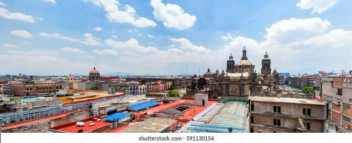 MEXICO CITY, MEXICO - APRIL 29, 2014: panoramic view of Zocalo from roofs in Mexico City, Mexico. The city is located at an altitude of 2,240 meters.