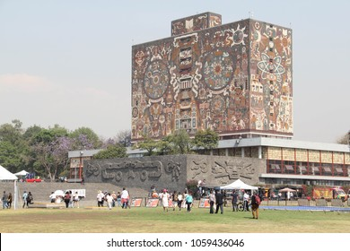 MEXICO CITY - April 9, 2016: The Central Library of the National Autonomous University of Mexico (UNAM), covered with a mural by Juan O'Gorman, a UNESCO World Heritage Site.