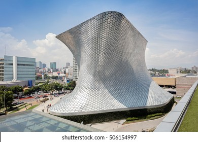 Mexico City, Mexico - August 26, 2016: Museum Soumaya in the with over 66,000 works from 30 centuries of art is located in Nuevo Polanco.