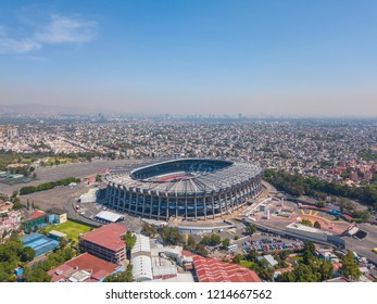 MEXICO CITY - August 27, 2017:Aerial panoramic view of the main Stadium in Mexico City. Sunny and uncrowded afternoon