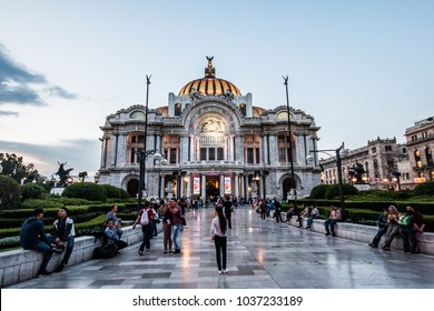 MEXICO CITY - AUGUST 3, 2016: People walk by the Palace of Fine Arts in Mexico