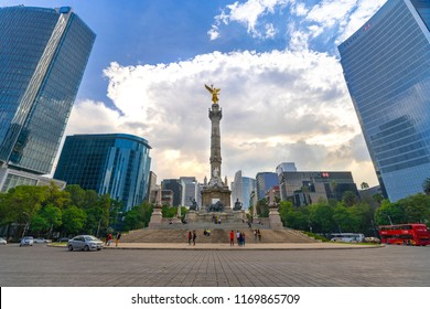 Mexico City, Mexico - August 31, 2018: Monumento a la Independencia, El Ángel (Monument to Independence, The Angel), in Paseo de la Reforma.