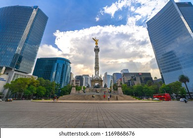 Mexico City, Mexico - August 31, 2018: Monumento a la Independencia, El Ángel (Monument to Independence, The Angel), in Paseo de la Reforma.