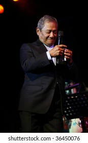 """MEXICO CITY - AUGUST 31: Composer Armando Manzanero and The Big Band Jazz of Mexico Performance of the new Album launch """" neither before or later"""" at Mexico City., Mexico. August 31, 2009."""