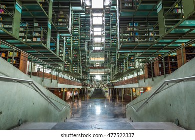 MEXICO CITY, MEXICO - AUGUST 8, 2016: Modern architecture inside the Biblioteca Vasconcelos in Mexico City, Mexico.