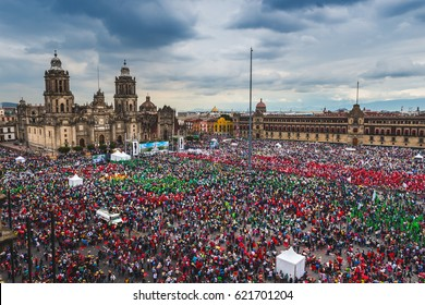MEXICO CITY, MEXICO - AUGUST 9, 2016: Thousands of people attend a rally at Zocalo Square in Mexico City, Mexico.