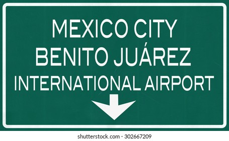 Mexico City Benito Juarez International Airport Highway Sign 2D Illustration