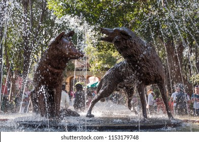 Mexico city / Mexico - ca. 2014: Fountain of the Plaza del Centenario at Coyoacan which contains a bronze sculpture of two coyotes, which refer to the borough's name, Coyoacan.