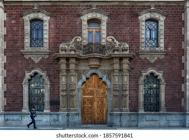 Mexico City, CDMX / Mexico - 05/12/2017: Facade of Antiguo Colegio de San Ildefonso, one of the most famous museums in the Historic Center of Mexico City