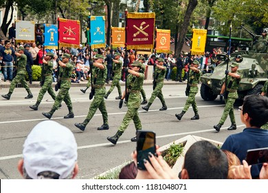 Mexico City, CDMX, Mexico 9/16/18  Mexico Military Civic Parade 2018 Standard-bearer from the different corps of the mexican army at Reforma avenue