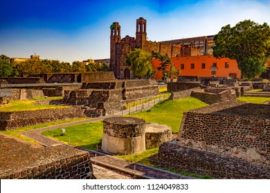 Mexico. The City of Mexico (CDMX). Archaeological Zone of Tlatelolco. There is Church of Santiago Apostle in the background