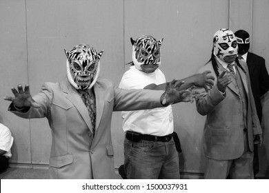 "Mexico city, CDMX Aug 2014 Lucha libre is the term used in Mexico for professional wrestling characterized by colorful masks, rapid sequences of holds and maneuvers, as well as ""high-flying"""