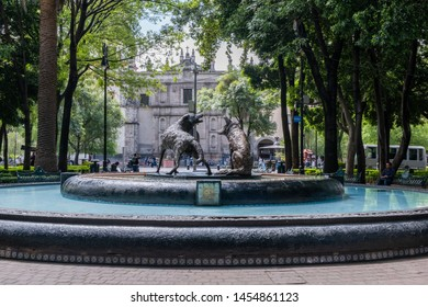 MEXICO CITY, CDMX / MEXICO - July 03, 2019: A fountain in downtown Coyoacan in Mexico City.