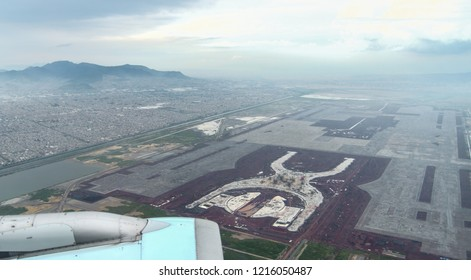 Mexico City, CDMX / Mexico - October 29, 2018: Mexico city aerial view with the construction of the new international airport NAIM