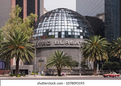 Mexico city / Mexico - Circa 2014 - Mexican Stock Exchange (Bolsa Mexicana de Valores) building located at Reforma Av. and Rio Rhin Av., just in the heart of the mexican financial district