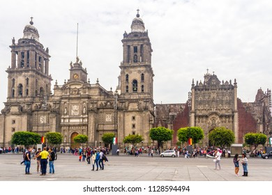 Mexico City / Mexico - Circa 2017: Two of the most antique catholic churches in the city. These buildings congregates more than ten thousand people every year during the different catholic ceremonies.
