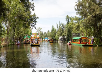 MEXICO CITY, MEXICO - CIRCA APRIL 2016: Trajineras (boats) at Xochimilco. Xochimilco is one of the most popular tourist attractions in the city.