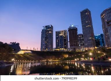 MEXICO CITY, MEXICO - CIRCA DECEMBER 2017: Buildings at Parque La Mexicana, Santa Fe, CDMX