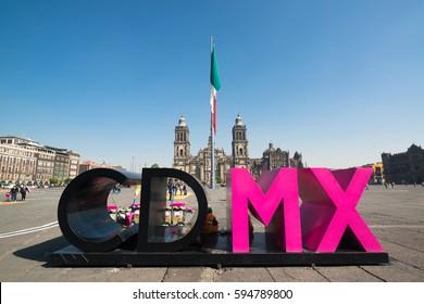 Mexico City - circa february 2016: CDMX - Ciudad de Mexico letters on Zocalo near Cathedral