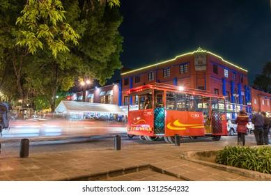 MEXICO CITY, MEXICO - CIRCA FEBRUARY 2019: Coyoacan downtown, night scene