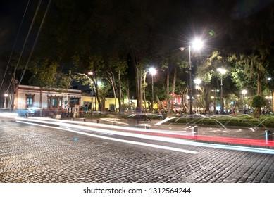 MEXICO CITY, MEXICO - CIRCA FEBRUARY 2019: Coyoacan, Mexico City night scene